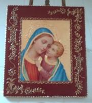 Decoupage la Tecnica imitazione sbalzo: quadretto Madonna con Bambino