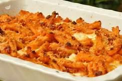 pasta con mozzarella e carne al forno